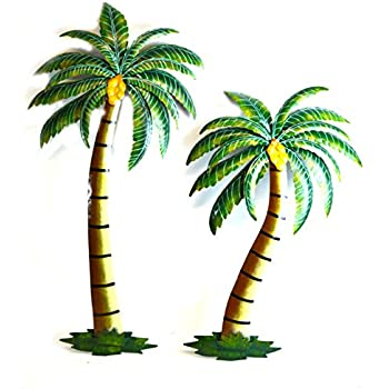 palm tree set of 3 metal wall art decor home kitchen. Black Bedroom Furniture Sets. Home Design Ideas
