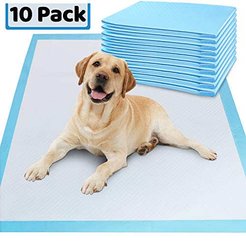 """Gimars Thicker Heavy Absorbency Pet Training Puppy Pads - Extra Large 28""""x34"""" Disposable Polymer Quick Dry No Leaking Pee Pads for Dogs, Cats, Rabbits and Other House Training Pets, 10 packs"""