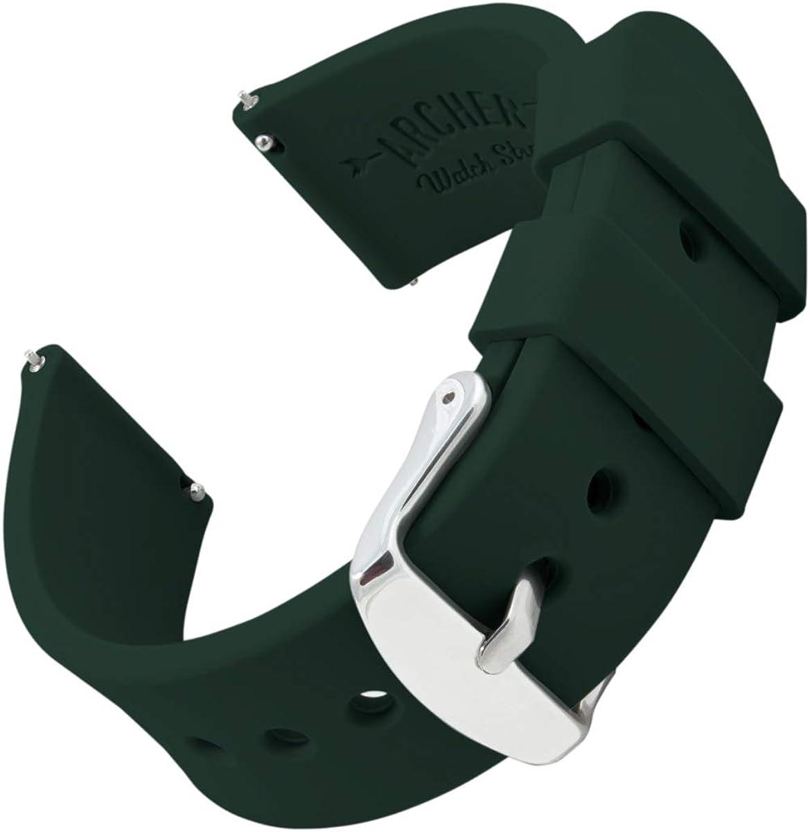 Archer Watch Straps | Repuesto de Correa Reloj de Silicona para Hombre y Mujer, Caucho Fácil de Abrochar para Relojes y Smartwatch, 16mm, 18mm, 20mm, 22mm, 24mm