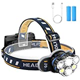 Headlamp Flashlight, 12000 Lumen Ultra Bright 6 LED Lamps Headlight with USB Rechargeable Batteries, 8 Modes Waterproof Head Lamp for Cycling Camping Fishing Hiking Jogging