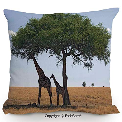 FashSam Throw Pillow Covers Baby and Mom Giraffe Under The Tree The Tallest Animal Mammal in Savannah Nature Art for Couch Sofa Home Decor(14
