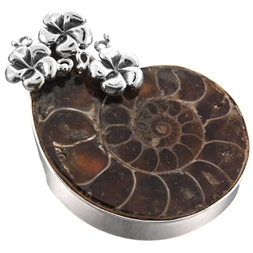 Ammonite Fossil Sterling Silver Pendant (Ammonite Fossil Plumeria Flower 925 Sterling Silver Pendant, 2