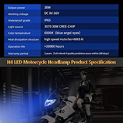 LED Motorcycle Headlights Camelight H4//HS1 Hi//Lo Blu-ray Angel Eye DC 12V//24V Universal Replacement of H4 Halogen Lamp White 6000K 1PCS
