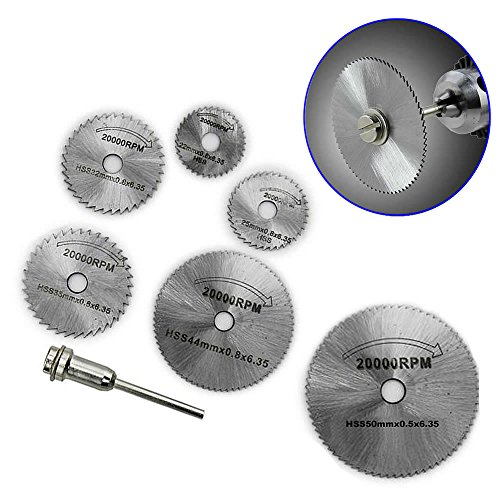 Tangc HSS Rotary Circular Saw Blades Tool Cutting Discs Mandrel For Dremel Cutoff Pack of 6