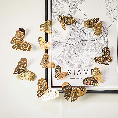 FLY SPRAY 36pcs Gold Butterfly Wall Decals - 3D Butterflies Hollow-Out Wall Stickers Metallic Removable Mural Decor DIY Decals Kids Girl Nursery Room Classroom Bedroom Living Room Home Decorations