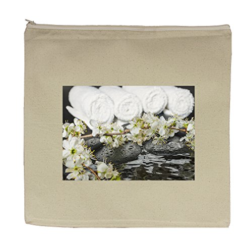 Canvas Zipper Pouch Tote Bag 5.5''X7.5'' Spring Spa Setting Zen Stones With Drops by Style in Print
