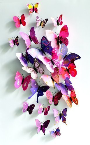 2 x 24pcs butterfly new home decoration diy removable 3d vivid special man made lively - Amazon Home Decor