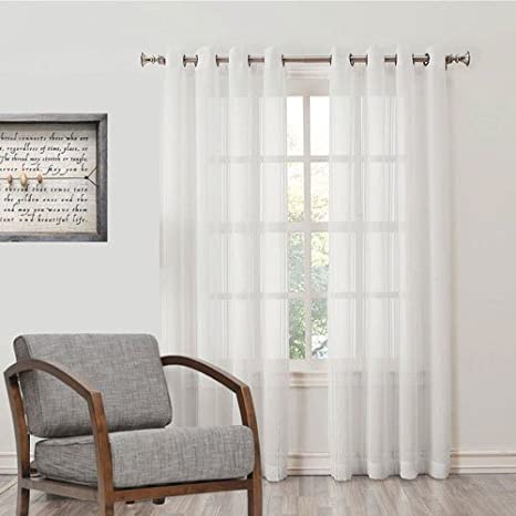 Desirica Sheer Cotton Blend Curtain - 7ft, White Curtains & Accessories at amazon