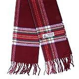 Plaid Cashmere Feel Classic Soft Luxurious Winter Scarf For Men Women (Tartan Burgundy)
