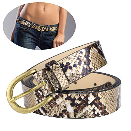 Women's Snake Print belt Gold Snakeskin Embossed Belt PU Casual for Jeans,dress and any pants L-(36''-42''))