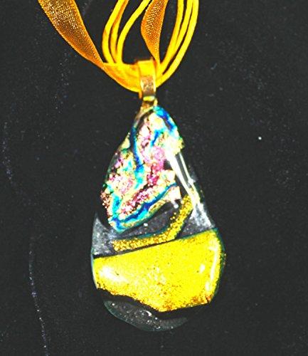 One of a Kind Dichroic Fused Glass Pendant on Organza Cord in teardrop shape with gold and pink at 2
