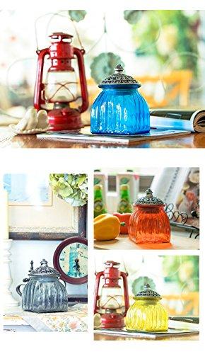 SOCOSY Vintage Crystal Glass Candy Jar with Lid Food Jar Nut Jar Jewelry Box Wedding Candy Buffet Jars Kitchen Storage Jar Assorted Color by SOCOSY (Image #4)