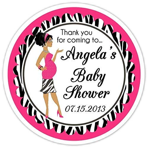 36 Baby Shower Labels, Baby Shower Diva stickers, Zebra and Pink Stickers - Baby Bump Labels