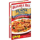 Bumble Bee Tilapia Skinless Boneless Fillets 7oz Can (Pack of 6) Choose Flavor Below (in Tomato Basil Sauce)