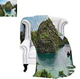 Summer Quilt Comforter Landscape of Majestic Cliff in Philippines Wild Hot Nature Resort Off Picture Digital Printing Blanket 70'x60' Green Brown Blue