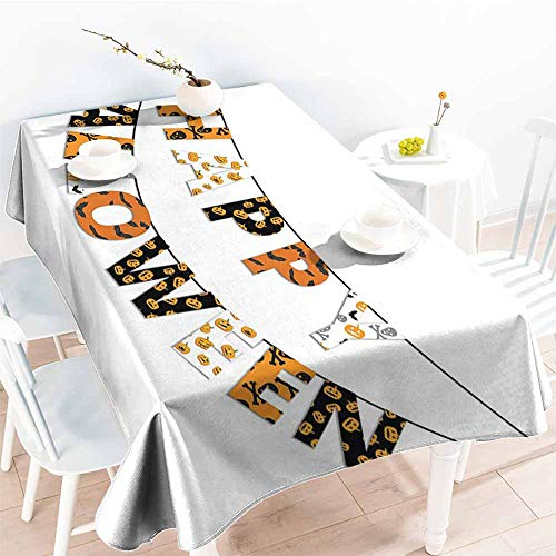 Tablecloth,Halloween Happy Halloween Banner Greetings Pumpkins Skull Cross Bones Bats Pennant,Party Decorations Table Cover Cloth,W52x70L Orange Black White -