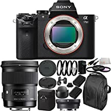 Sony Alpha a7 II Mirrorless Digital Camera with 50mm f/1.4 DG HSM Art Lens for Canon EF & MC-11 Mount Converter/Lens Adapter (Sigma EF-Mount Lenses to Sony E) 19PC Accessory Kit. Includes 2 Replacement FW-50 Batteries + MORE