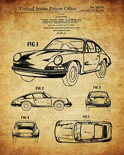 Old Porsche Patent Print – 11×14 Unframed