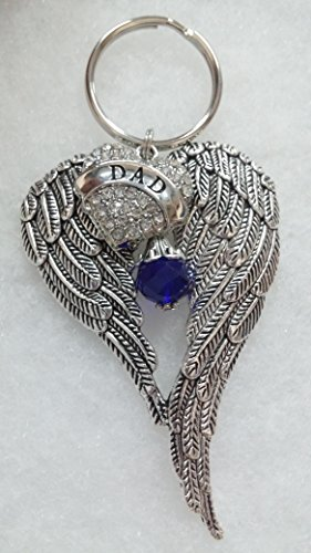 Dad Memorial Keychain Angel Wings w/ Crystal Heart In Memory Sympathy Gift (Angel Engraved Keychain)