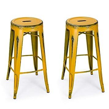 Adeco 30u0026quot; Metal Stools Vintage Barstool Antique Distressed Yellow ...  sc 1 st  Amazon.com & Amazon.com: Adeco 30