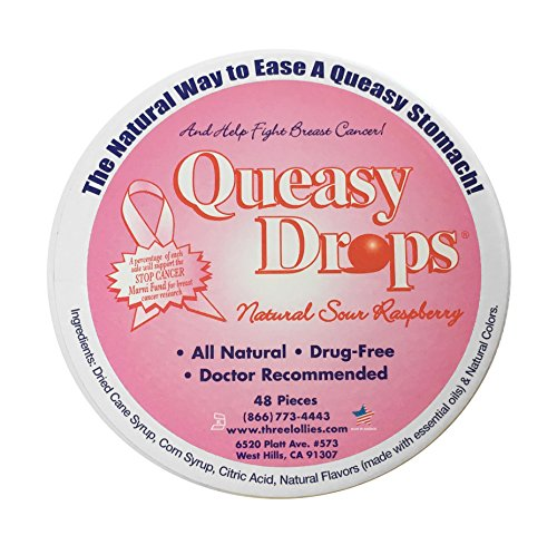 Three Lollies Assorted Queasy Drops for Nausea Supporting Breast Cancer Awareness, 48 Count by Three Lollies