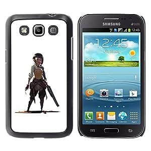 iBinBang / Funda Carcasa Cover Skin Case - Warrior Woman Gunman White Drawing - Samsung Galaxy Win I8550 I8552 Grand Quattro