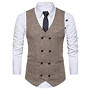 iHENGH Men Formal Tweed Check Double Breasted Waistcoat Retro Slim Fit Suit Jacket KH/L(Khaki,L)