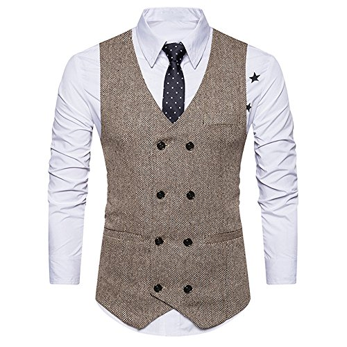 Clothes For Men Charberry Suit Vest Striped Double Breasted Formal Tweed Check Waistcoat Retro Slim Fit Suit Jacket by Charberry