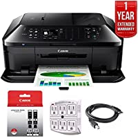 Canon PIXMA MX922 Wireless Inkjet Office All-In-One Printer + 1 Year Extended Warranty with Genuine Canon Ink Bundle Includes PGI-250XL Pigment Black Twin Pack + Outlet Adapter + Printer Cable