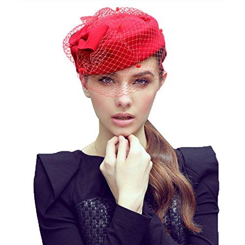 Womens Dress Fascinator Wool Felt Pillbox Hat Party Wedding Bow Veil A080 (Red) ()