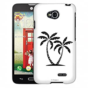 LG Ultimate 2 Case, Slim Fit Snap On Cover by Trek Silhouette Tropical Palm Trees on White Case