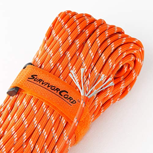 Titan SurvivorCord | Reflective Orange | 103 Feet | Patented Military Type III 550 Paracord/Parachute Cord (3/16 Diameter) with Integrated Fishing Line, Fire-Starter, and Utility Wire.