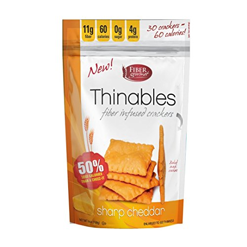 Thinables Low Calorie Crackers (6 pack) Sharp Cheddar, Healthy, Low Carb, Low Fat, Fiber Gourmet, 6 ounces, Weight Loss Snack, 24g of Protein, 66g Fiber by Fiber Gourmet