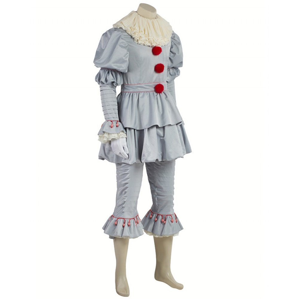 Pennywise Costume Halloween Deluxe Clown Cosplay Costume Outfit It Movie for Adults Kids (Male M) by Cosfunmax (Image #3)