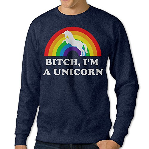 Price comparison product image BestGifts Men's Bitch I'm A Unicorn Rainbow Crew Neck Sweatshirts Navy Size S