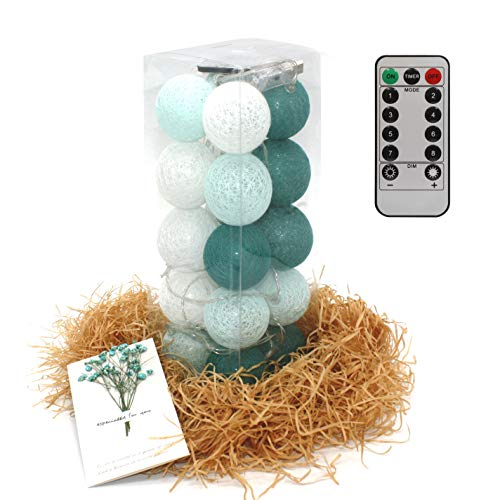 ABAMERICA Cotton Ball String Lights - 8 Modes 10.2 ft LED Waterproof Light for Birthday/Party/Christmas/Halloween/Kids Gift/Night Fairy Lights (USB Powered, Dark Green)