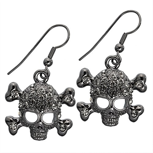 Gemmed Skull & Crossbones Dangle Earrings Skull Crossbones Dangle