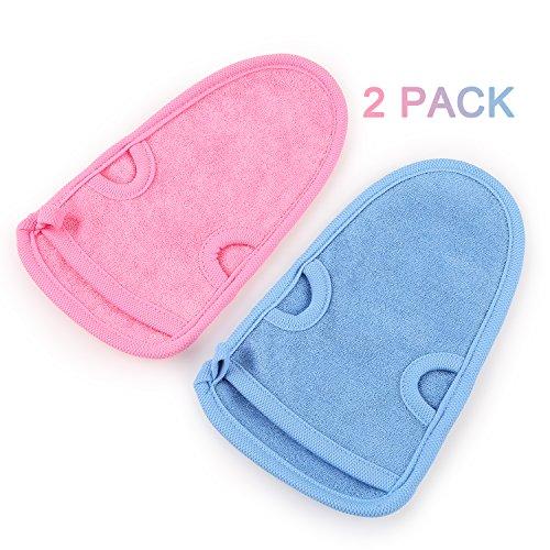 Auxent 2 Stück Peelinghandschuhe Massagehandschuhe aus Naturfasern mit Ergonomischem Design zum Körperpeeling oder Gesichtspeeling für Frauen und Männer, Blau/ Rosa