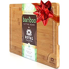 EXTRA LARGE Organic Bamboo Cutting Board with Juice Groove - Best Kitchen Chopping Board for Meat (Butcher Block) Cheese and Vegetables | Anti Microbial Heavy Duty Serving Tray w/Handles - 18 x 12 24 MONEY BACK GUARANTEE. We take pride in the quality of our Bamboo Cutting Board and this is why we back it with 100% Money-Back guarantee! Buy with confidence and enjoy an award winning design and its multifunction usage! If you are not absolutely thrilled at it, we will fully refund you, NO QUESTIONS ASKED! EXTRA LARGE with SIDE HANDLES to use it as Cutting-Chopping-Cheese Board or Serving Tray. PROFESSIONAL GRADE, KNIFE FRIENDLY: Bamboo won't cause excessive wear and tear to cutlery.