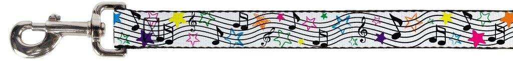 6 Feet Long 1.5\ Buckle-Down Pet Leash Music Notes Stars White Black Multi color 6 Feet Long 1.5  Wide
