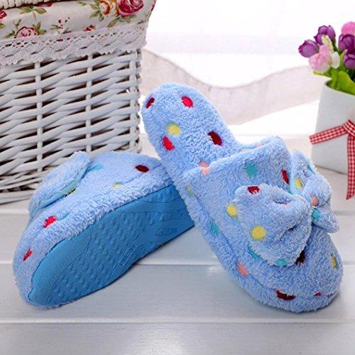 Gillberry Vrouwen Winter Indoor Sandaal Thuis Schoenen Namaakbont Warme Slippers Hemelsblauw