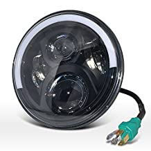 Auto Rover 7 Inch Round Car Replacement Bulbs Hight/Low Beam Cree LED Driving Light Headlight with DRL & Turn Signal & Halo Ring Angle Eyes for Jeep Wrangler JK 60W 1Pc