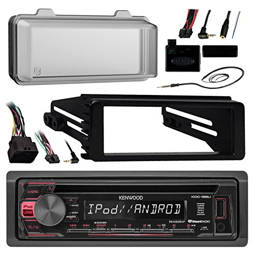 96-2013 Harley Touring Stereo Radio Install Adapter Dash kit Flht Flhx Flhtc Kenwood USB AUX Stereo Radio w/ Thumb control Interface Included Radio mounting kit, Installation instructions included, HDWS1B Radio Cover for Harley-Davidson (Harley Davidson Motorcycle Radio)