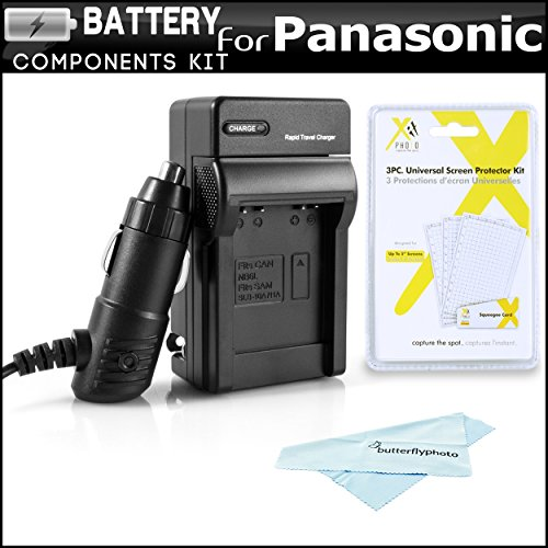 Battery Charger Kit For Panasonic LUMIX DMC-SZ7, DMC-TS25, DMC-TS30, DMC-TS30K Digital Camera Includes Ac/Dc 110/220 Rapid Travel Charger For Panasonic DMW-BCK7 Battery + LCD Screen Protectors + More