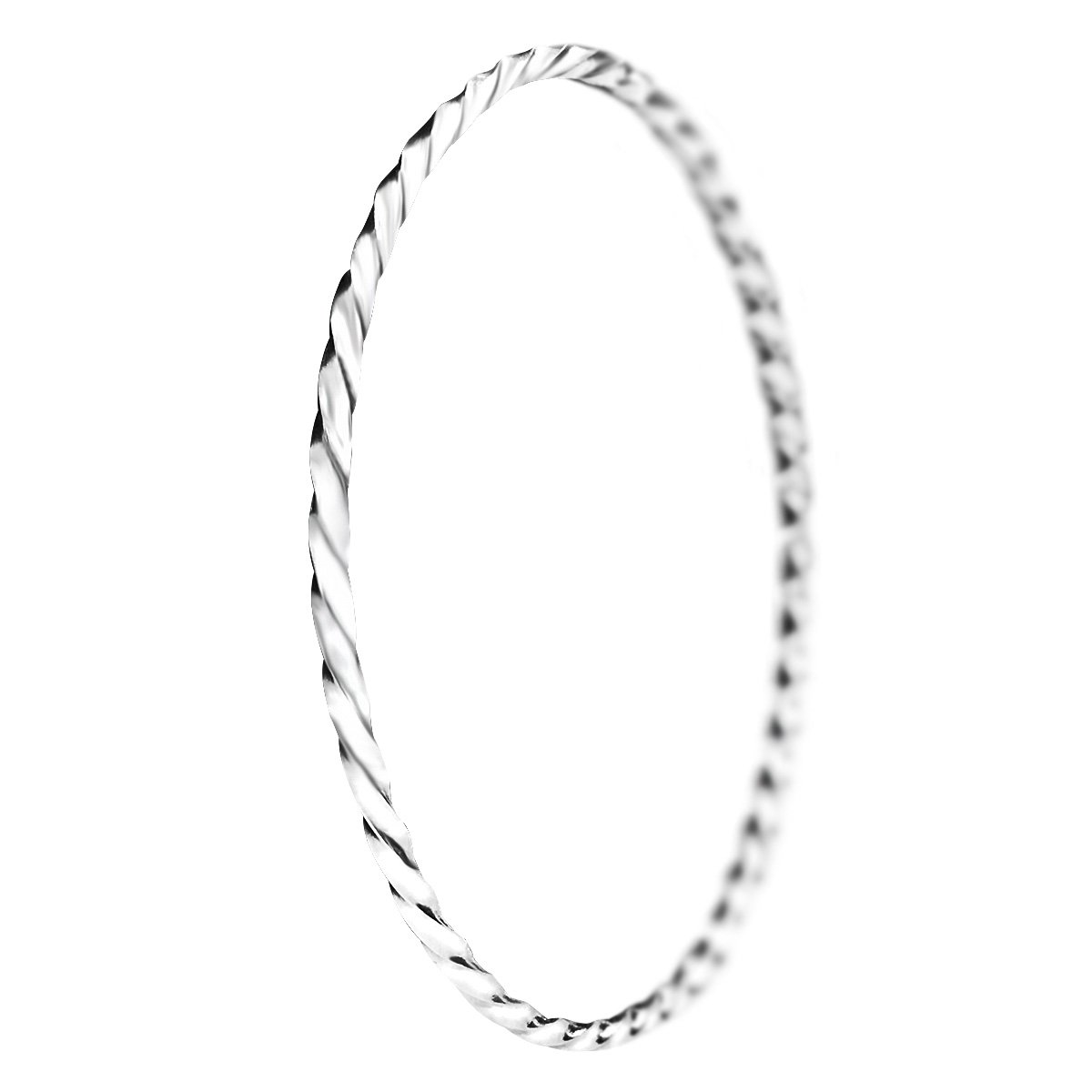 Merdia S925 Sterling Silver Solid Twisted Bangle Bracelet for Women and Ladies 7.3cm