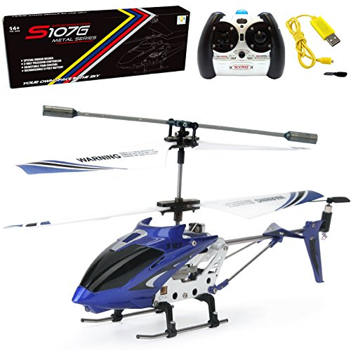 Cheerwing S107/S107G Phantom 3CH 3.5 Channel Mini RC Helicopter with Gyro Blue (Best Coaxial Rc Helicopter)
