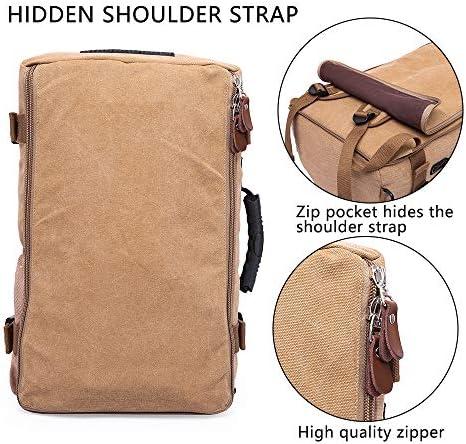 "KAKA Travel Backpack ,Canvas Duffel Bag for Traveling,Leather Vintage Travel Bags for Men,Carry on Weekender 15.6"" Laptop backpacks Bag ,khaki"