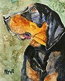 Black and Tan Coonhound Black and Tan Coonhound Dog Fine Art Print on 100% Cotton Watercolor Paper