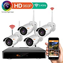 [HD Color Video by Starlight at Night] CORSEE 4CH 960P HD Wireless Security Camera System,4 x 1.3 MP Starlight Surveillance Outdoor IP Cameras No Hard Drive (Plug and Play)