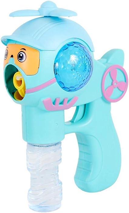 Toyandona - Pistola de burbujas con forma de avión, con luz de ventilador y máquina de burbujas que sopla música, juguetes sin batería para niños (azul): Amazon.es: Belleza